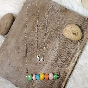 Mineral Beaded Silver Chain Necklace